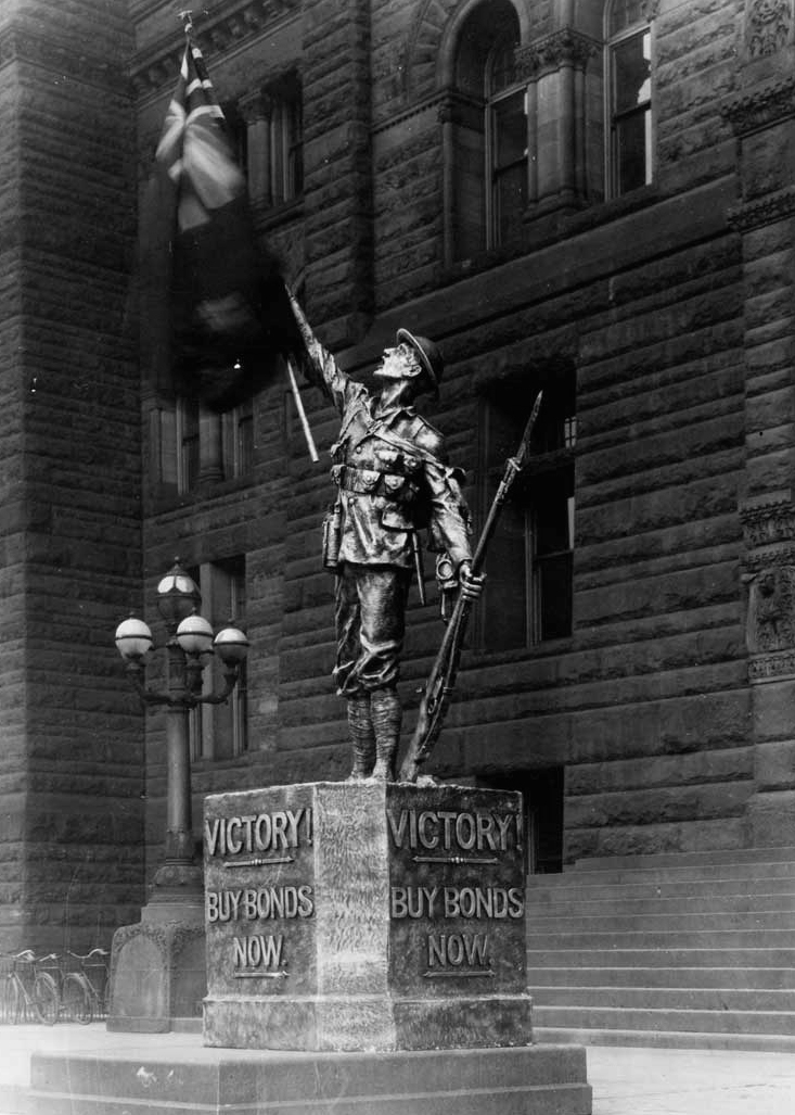 War memorials - 1918 Victory statue, November 1918 T. Eaton Company fonds Reference Code: F 229-308-0-1090 Archives of Ontario