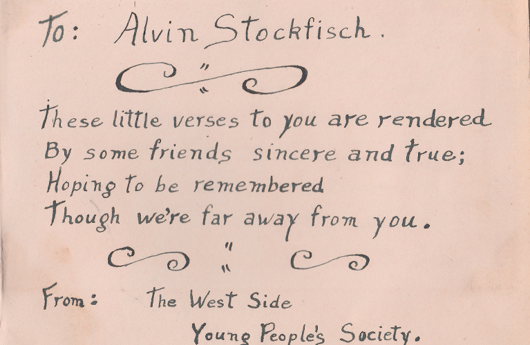 The Mysterious West Side Young People's Society - To Alvin Stockfisch | Alex Inspired