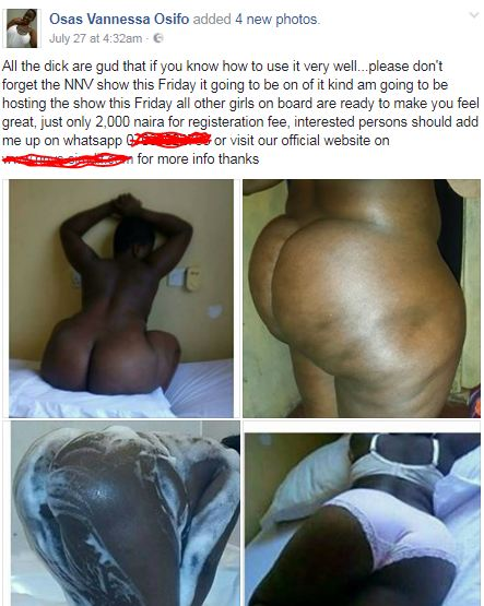 5992c17c2608a - There's a Facebook page Nigerian men subscribe to with 2K to watch nude girls every Friday (18+ Photos)