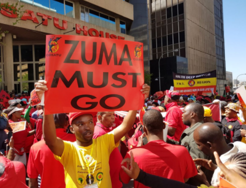 South African union workers protest against President Jacob Zuma