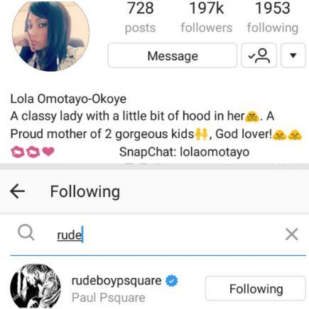 Paul Okoye unfollows Lola Omotayo on IG while Lola is still following him