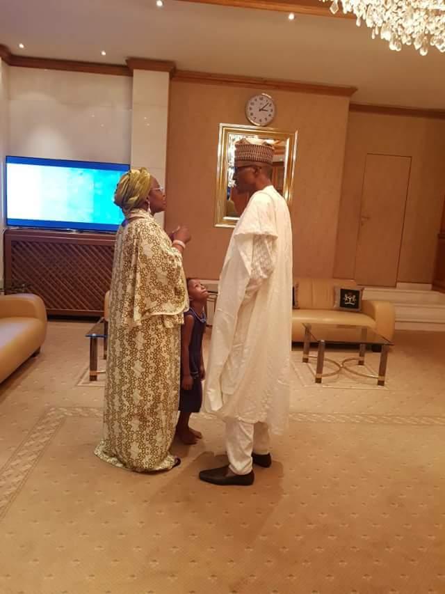 Aisha Buhari and her grand daughter welcome President Buhari back from Borno