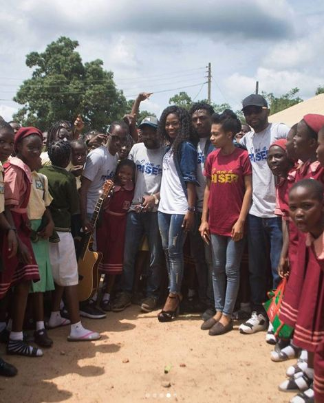 Ex BBN housemate, Debbie-Rise visits her  Alma mater, presents them with a guitar (photos)