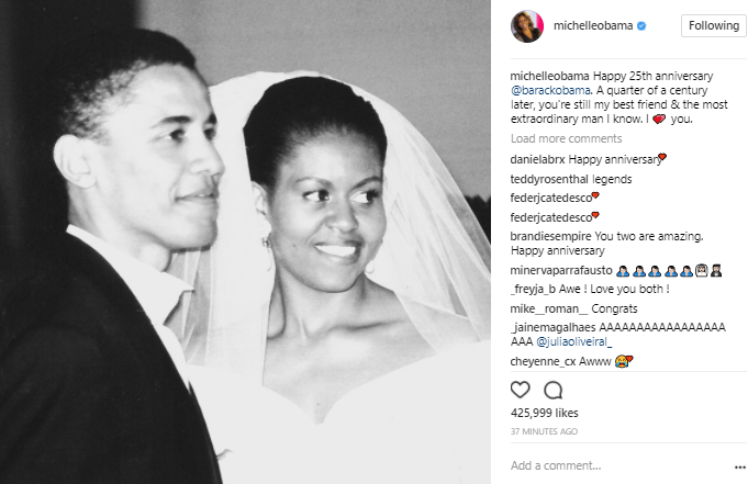 """""""You are still the most extraordinary man I know"""" - Michelle Obama praises her husband, Barack as they celebrate their 25th wedding anniversary"""
