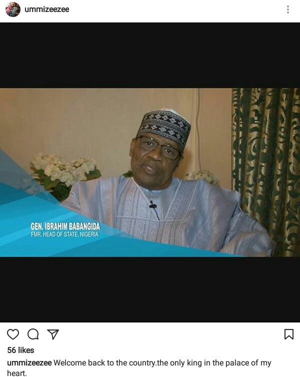 "Hausa actress, Ummi Ibrahim Zeezee describes ex-military president, Ibrahim Babangida, as ""the only king in the palace of her heart"""