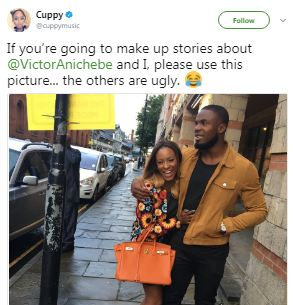 """If you?re going to make up stories about Victor and me, use this photo"""" Dj Cuppy reacts to rumours about break up with footballer Victor Anichebe"""
