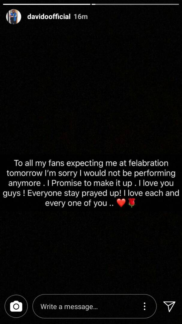 Davido cancels Felabration performance today in honour of his late friends