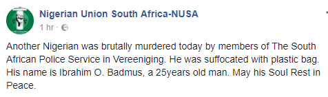 Another Nigerian man allegedly killed by South African policemen