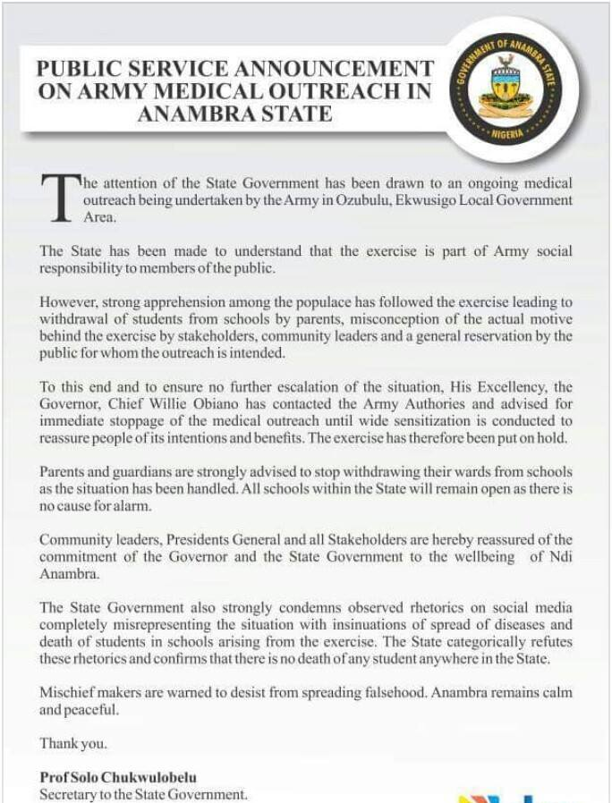 Anambra state government reacts to claims that military officers are injecting students with Monekypox virus