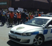 Just imagine! South African police officers stage protest against Nigerians