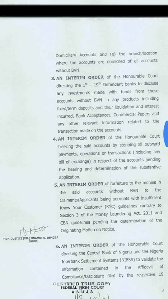 FG files an application before the federal High Court seeking permanent forfeiture of all money laying in Commercial Banks without BVN