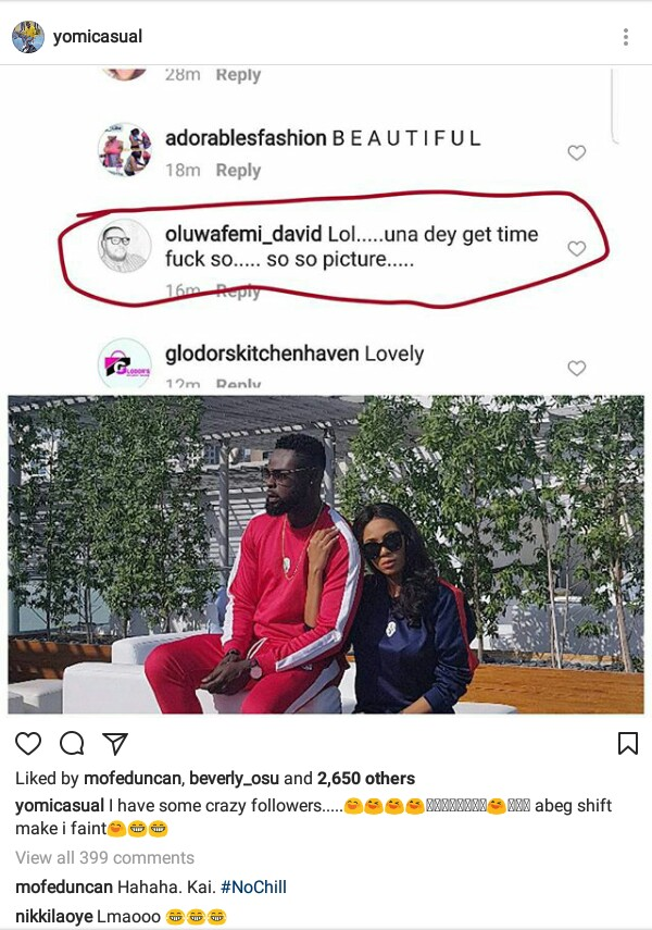 Lol... Newlywed Yomi Casual has got crazy followers... see what one asked him