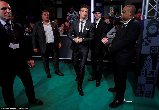 Photos from the FIFA best player award in London as Ronaldo, Messi and others step out with their WAGs for the Gala in London