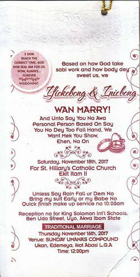 Check out this wedding invitation card written in pidgin English