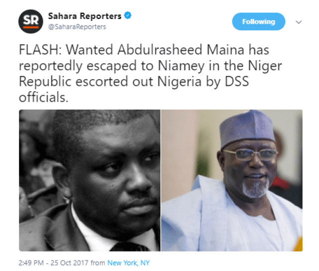 Sahara Reporters claims wanted ex-pension boss Abdulrasheed Maina has been escorted out of Nigeria to Niger Republic
