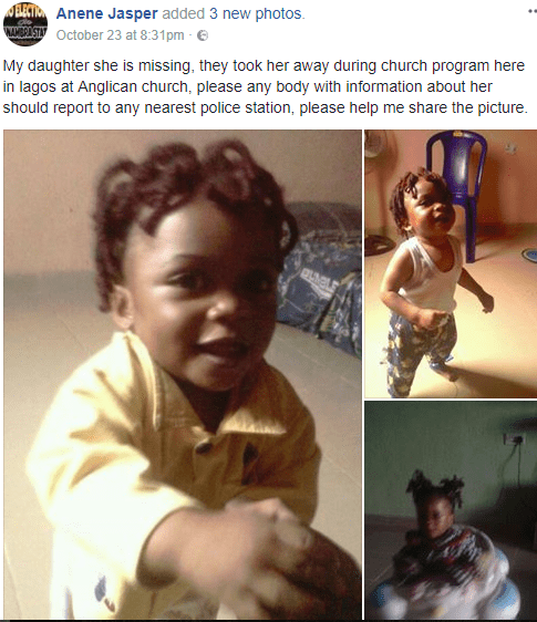 Photos: 2 year old girl abducted during a church programme in Lagos