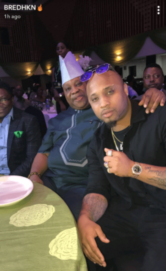 Father-son photos! Singer B-Red poses with his father, Senator Ademola Adeleke at an event