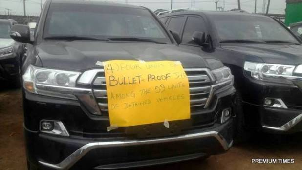 Customs impounds four bullet proof vehicles recovered in Ikoyi home