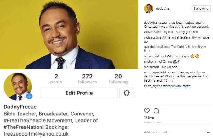 The battle continues! OAP Freeze loses his popular Instagram account again!