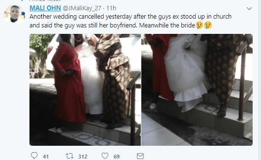 Bride-to-be is left heartbroken after another lady appears in church to claim she