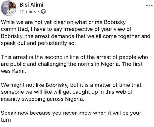 Gay rights activist, Bisi Alimi joins the free Bobrisky movement on IG