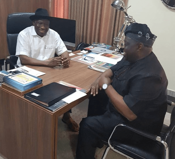 Photos: Former president Goodluck Jonathan receives media personality, Dele Momodu, at his office in Abuja