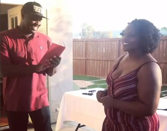 Young lady surprises her man with a proposal and wedding at the same time (Video)