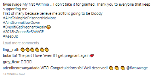 Tiwa Savage hints that she might be willing to get pregnant again in 2018