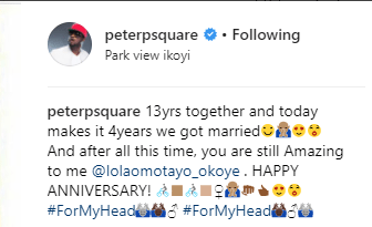 Peter Okoye shares adorable photo with his wife as they celebrate their 4th wedding anniversary and 13 years together