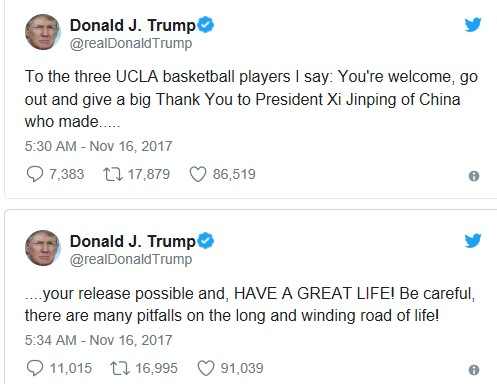 Donald Trump lashes out at LaVar Ball for being ungrateful for his son
