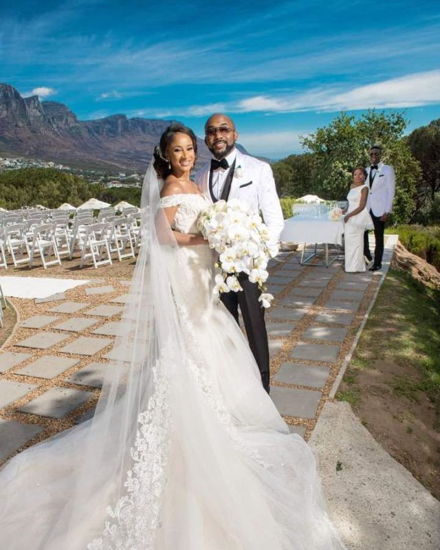 First look of Banky W and Adesua Etomi at their white wedding