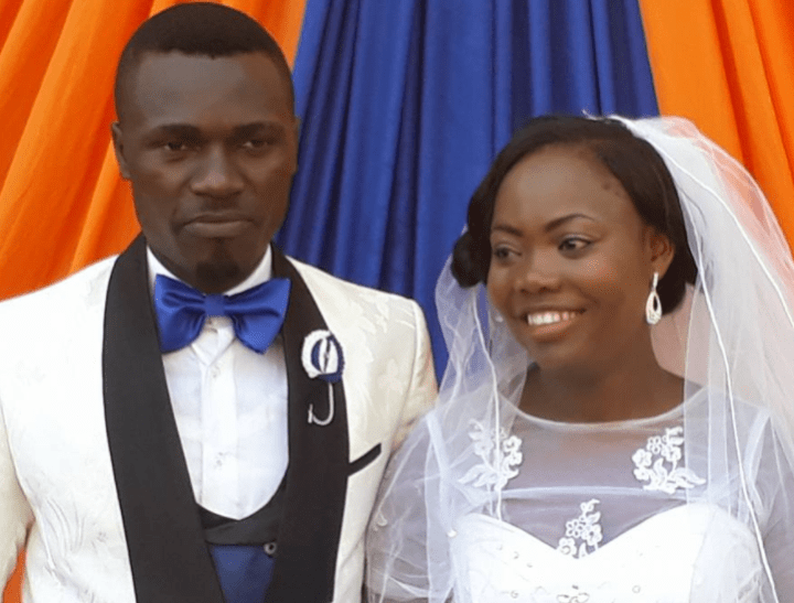 Newly wedded couple parade in a decorated tipper after tying the knot in Uyo, Akwa Ibom