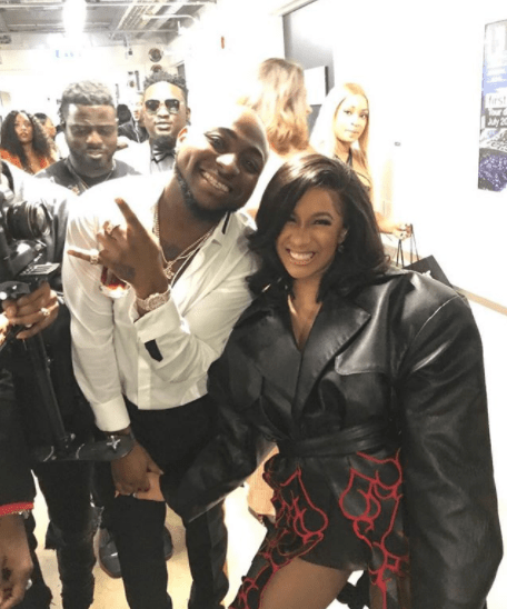 Davido & rapper Cardi B pose for a photo in London after the MOBO Awards