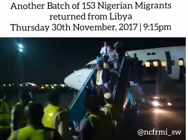 Video: Another set of 153 Nigerian migrants return from Libya amidst ongoing slave trade crisis