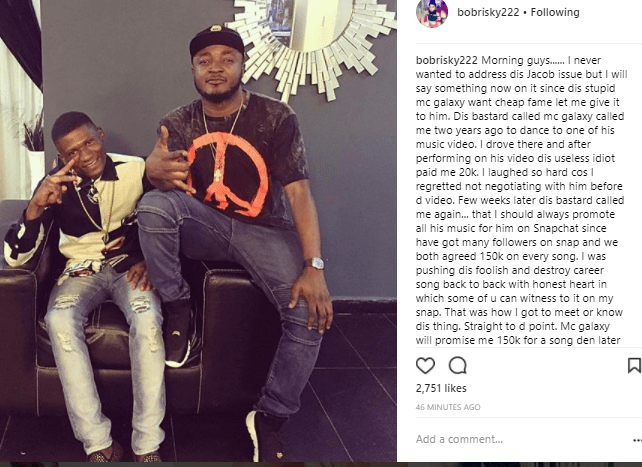 Bobrisky goes on a lengthy rant on IG, calls out Mc Galaxy and shares his own side of the story on what transpired between him and his gateman