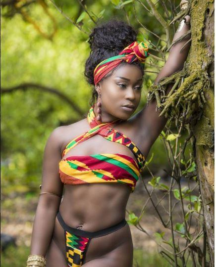 Melanin Popping! Ghanaian actress Efia Odo breaks the internet as she flaunts her banging body in kente bikini (Photos)