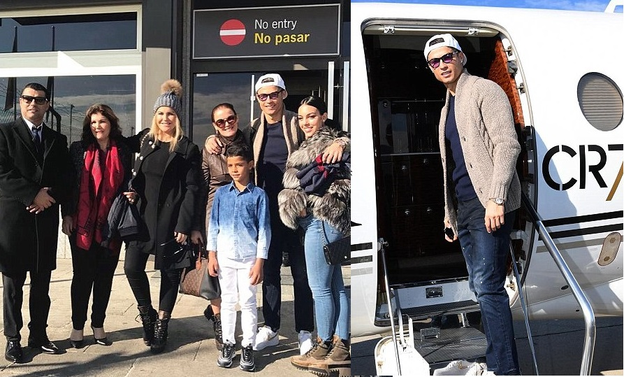 Cristiano Ronaldo and family fly to Paris as he prepares to pick up his fifth Ballon d
