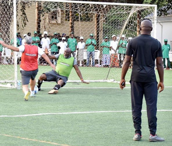 Photos: See Dino Melaye show off his football skills on the field