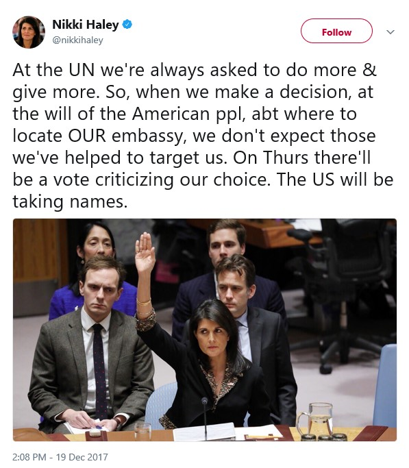 US reduces aid to UN by $285 million after their NO vote to Jerusalem