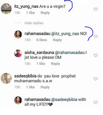 Actress, Rahama Sadau reveals her virginity status on Instagram