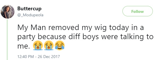 Jealous boyfriend removes girlfriend's wig