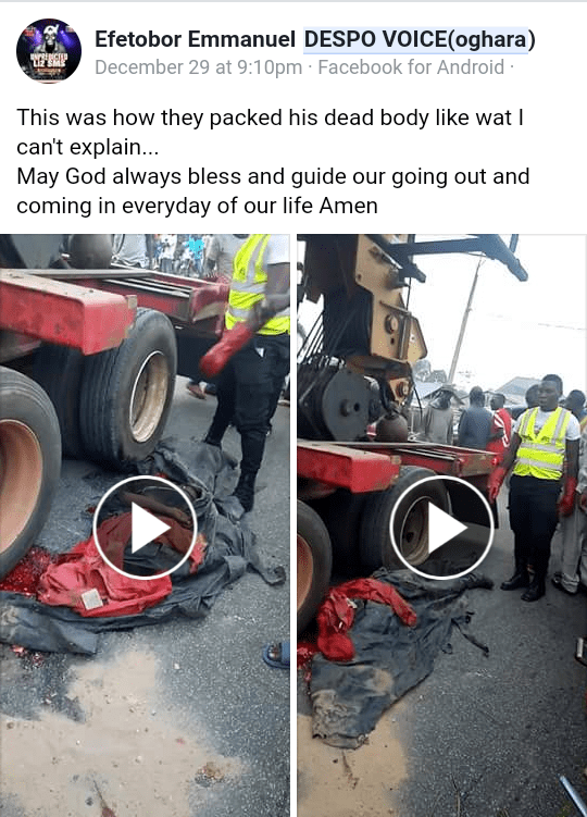 Trailer driver mistakenly crushes his conductor to death in Delta state (graphic photos)