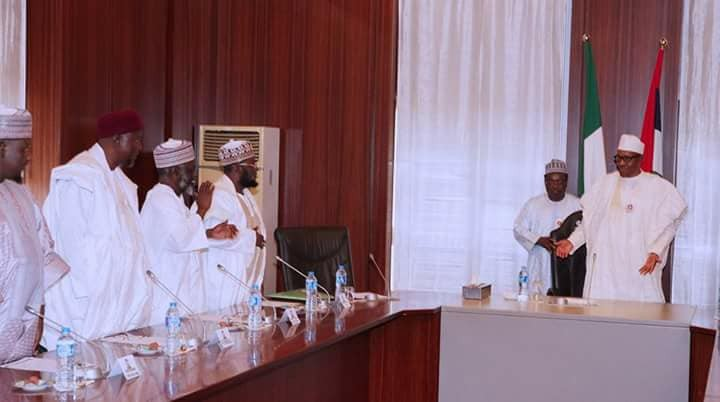 Photos: President Buhari hosts group of Muslim clerics in the state house, Abuja