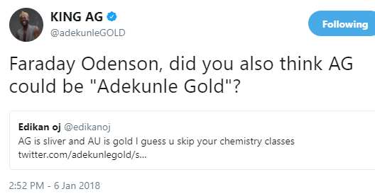 Haha Twitter User Threatens To Sue Adekunle Gold For Using The