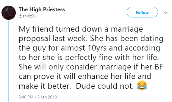Lady rejects marriage proposal from her boyfriend of 10 years because he couldn