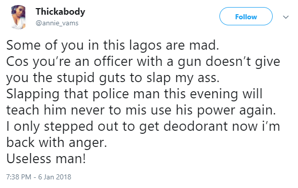 Lady slaps a police officer carrying a weapon for slapping her butt in Lagos