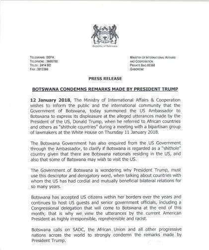 Government of Botswana condemns US president