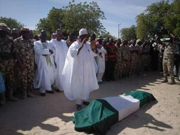 Photos: Borno state governor, Kashim Shettima, attends burial of a gallant soldier killed in a recent Boko Haram attack