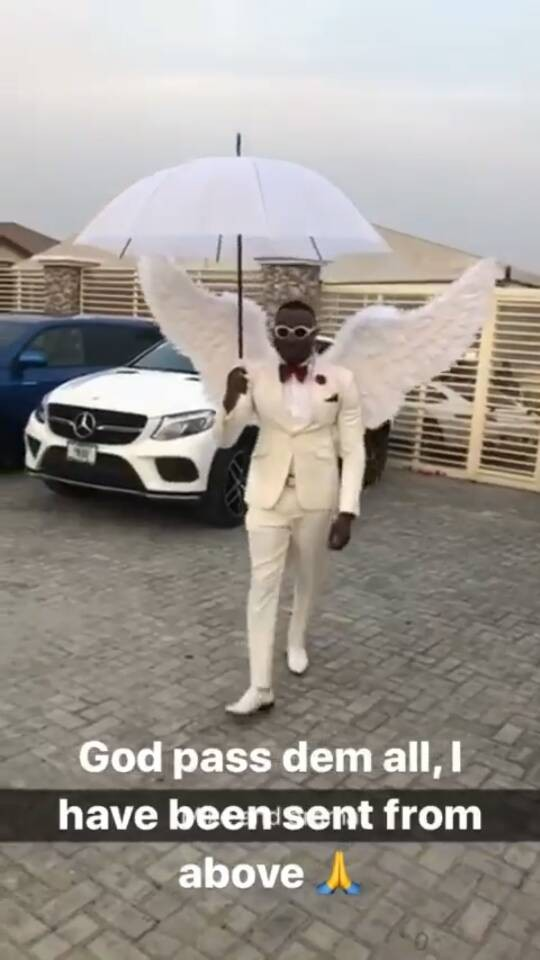 5a5a7349e3a0c - Controversial socialite, Pretty Mike, attends a wedding in Lagos dressed in an angelic costume(photos)