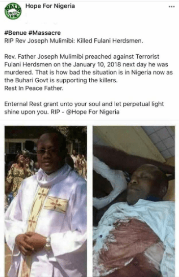 Rev. Father murdered allegedly because he preached against Fulani herdsmen